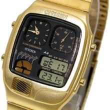 Citizen Retro Ana-digi Temperature Classic Gold Tone Watch Jg2012-50e