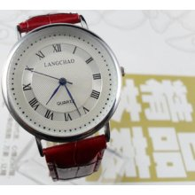 Classic Casual Red Men's Dial Quartz Wrist Watches Hour Clock Bracelet