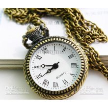 Classic Design Antique Pocket Watch Chain Roman Numerals Simple Vint