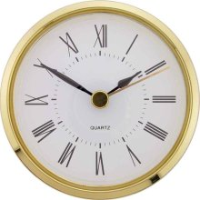 Clock Movement Bezel Insert 2 13/16inch Gold Bezel with White Dial Roman Numerals