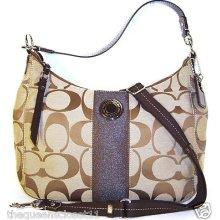Coach Large Signature Sis Convertible Hobo Bag Purse $298 Khaki Brown 19281