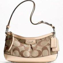 Coach Park Signature East-west Duffle Handbag Tote Shoulder Bag Khaki/tan F19731