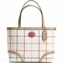 Coach Peyton Tattersall Top Handle Tote Smaller Size 48586 W/receipt