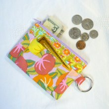 Coin Purse Card Slot Kaffe Fassett Fabric Zipper Change Purse Persimmon Pink Lavender Orange Yellow Key Ring Fob