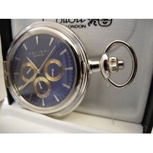 Colibri Blue 3 Eye Silvertone Pocketwatch