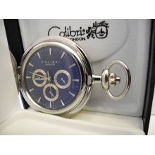 Colibri Blue 3 Eye Silvertone Pocketwatch Day, Date, And 24 Hour