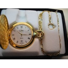 Colibri Goldtone White Face Pocket Watch Swiss Parts Date W/ Chain As-is