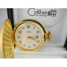 Colibri Goldtone White Face Pocket Watch W/date
