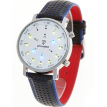 Detomaso Unisex Digital Watch With White Dial Digital Display And Blue Leather Strap Dt1026a-B