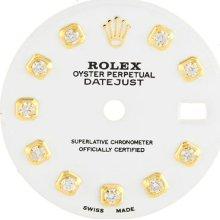Dial - Rolex Datejust White Custom Diamond Yellow Mens Ladies Midsize Watch