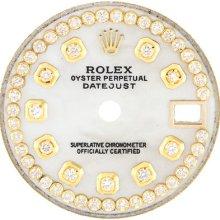 Dial - Rolex Datejust Yellowish Mop Pearl Custom Diamond 28mm Ladies Watch