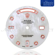 Diamond White Mother Of Pearl Dial For Rolex Day-date Ii President 41mm Watch