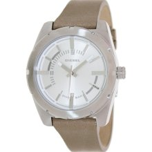 Diesel Men's DZ5343 Beige Leather Analog Quartz Watch with Silver Dial