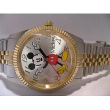 Disney Mens Mickey Mouse Stainless Steel Bracelet Watch Mck850 Two Tone