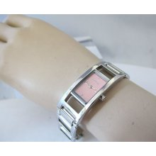 Dkny Donna Karan Ny-3378 Ladies Watch Pink Dial Curved Case Stainlesssteel