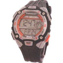 Dunlop DUN-117G08 - Dunlop Men Digital Chronograph Watch, Orange Dial Details And Black Band