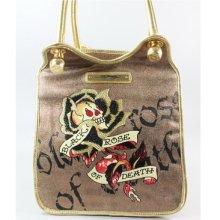 Ed Hardy Christian Audigier Gold Skull Rose Tattoo Tamara Shoulder Handbag