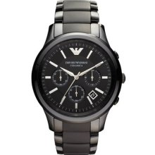 Emporio Armani Ar1452 Black Ceramic Matte Mens Watch - 2 Years Warranty