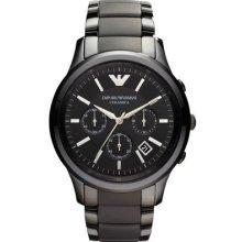 Emporio Armani Ar1452 Black Ceramic Matte Mens Watch - 2 Years Warranty