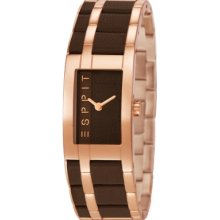 Esprit Houston Mix Women's Quartz Watch With Brown Dial Analogue Display And Rose Gold Stainless Steel Bracelet Es105402005