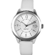 Esprit Ladies Silver Dial White Leather Strap Designer Dress Watch Es105142002