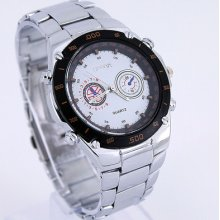 Fab Luxury Gents White Black Men's Stainless Steel Quartz Wristwatch Sn45