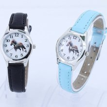 Fashion Children Leather Horse Boy Girl Quartz Animal Wristwatch U11