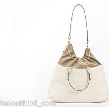 Fendi 'b Fab' Leather And Suede Drawstring Tote Bag Ivory $2200