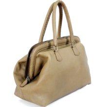Fendi Selleria Handbag - Light Olive Leather Doctor Frame Satchel