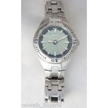 Fossil Blue Men's Watch Am3541 Silver Tone Steel Band Multi Color Digital Dial