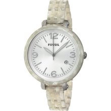 Fossil Heather Silver Dial Pearlized White Plastic Ladies Watch Jr1407