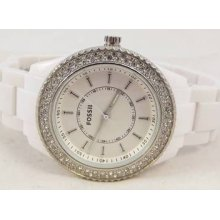 Fossil Ladies White Plastic Faux Diamond Watch...es-2444.. Genuine..rrp £125