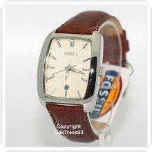 Fossil Mens Champagne Dial Leather Watch Fs4517
