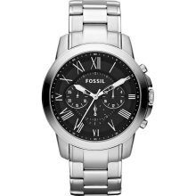 Fossil Mens Grant Analog Stainless Watch - Silver Bracelet - Black Dial - FS4736