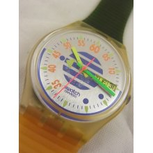 Gk701 Swatch 1992 High Pressure Date Day Fluorescent