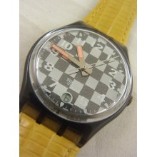 Gm402 Swatch 1993 Clubs Date Yellow Authentic Classic