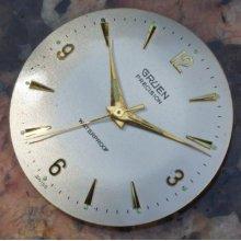 Gruen Precision Gold Marker Dial & Hands Dealer Set 30.4mm Diameter Dial