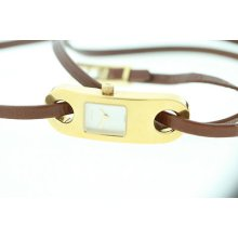 Gucci Ladies 6100l Gold Dial Wrap Bracelet Brown Leather Strap Watch