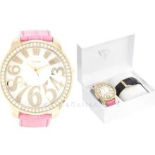 Guess Oversize Gold Lady Watch Pink Black Strap Box