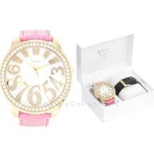 Guess Oversize Gold Lady Watch Pink Black Strap Box