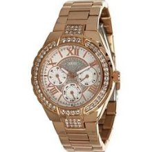 Guess Rose Gold Tone Shimmer Dial Ladies Watch U0111l3 Fast Shipping