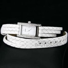 Guess Watch Ladies Wrap-up White Leather Swarovski U71001l4 Montre Uhren