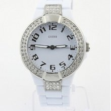 Guess White Crystal Watch U95198l1 Womens White Band