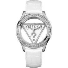Guess Women White Strap Transparent Dial Watch U95114l1 W10216l1 W/ Guess Box