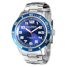Haurex Italy Premiere Blue Dial Stainless Steel Mens Watch 7A355UBB