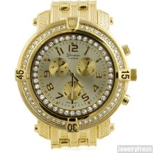 Heavy Military Size Hip Hop Style Mens Iced Out Watch Gold Finish