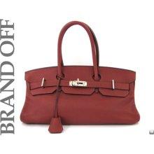 Hermes Rouge H Clemence Leather Shoulder Birkin Shoulder Bag Handbag H-stamp