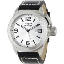 Invicta Men S 1110 Corduba Collection Silver Dial Black Leather Watch Casual Wr