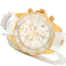 Invicta Mens Pro Grand Diver Swiss Chronograph Silver Dial Gold Tone Case Watch