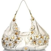 Isabella Fiore Star Stud Angie White Leather Handbag